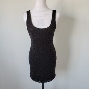 Lily Rose Black Sequin Sleeveless Dress Womens L